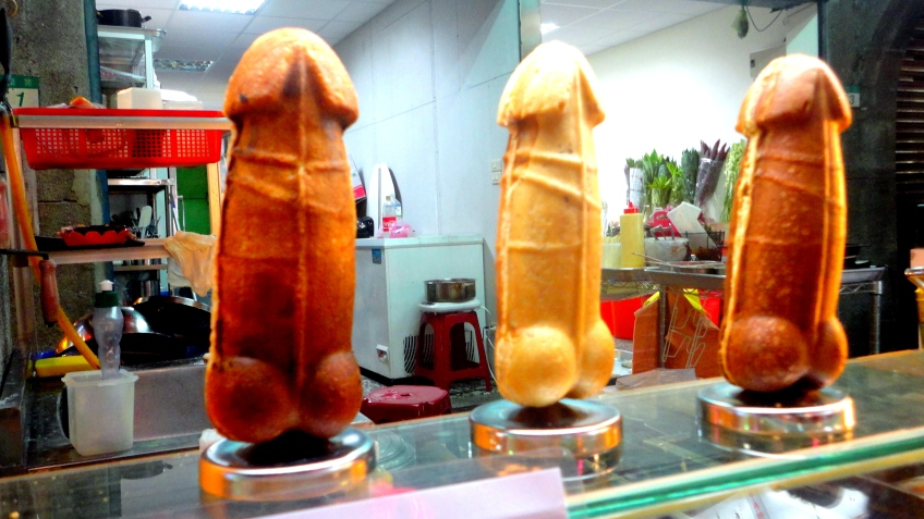 the display penis-shaped waffle dogs