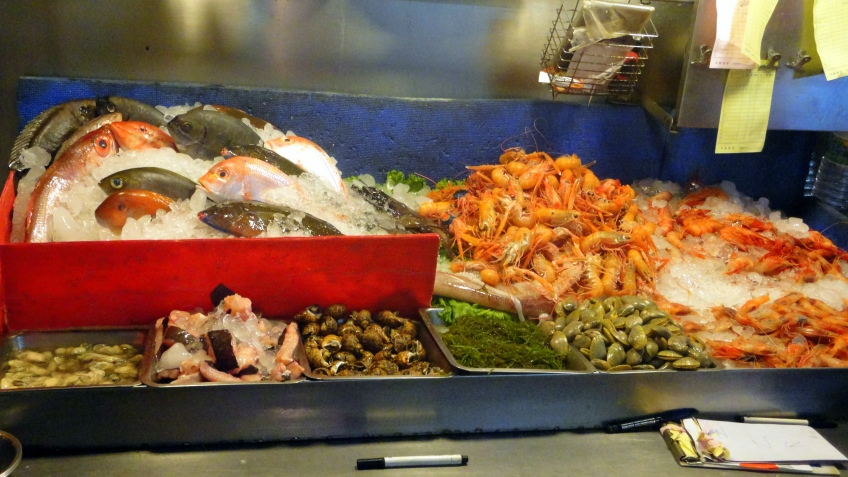 fresh seafood at the street market