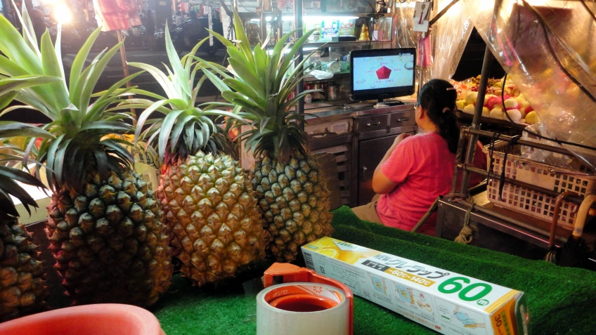 the fruit lady cannot miss her show..