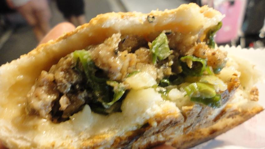 baked pork burger, 5th bite in