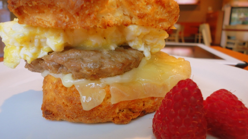 sausage biscuit with cheese, grand central bakery