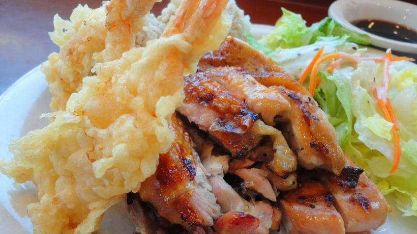 chicken teriyaki with shrimp tempura on brown rice, toshio's teriyaki