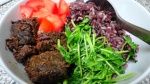 tapang baka:  beef tapa.  with pea shoots, diced tomatoes, and purple rice.  I'll post a recipe once I have it perfected.