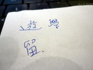 A Taipei cab driver taught me how to say 遊學 and 留學.  Even provided written support!