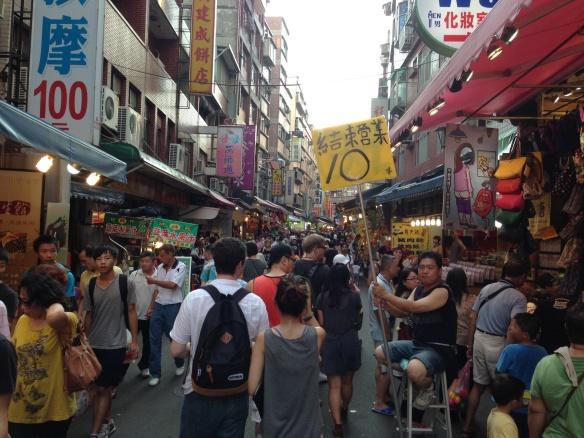 Danshui night market street scape