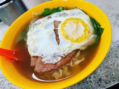 spam fried egg noodle