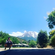 AsianSquatBomb in Weed, Mt. Shasta (background)